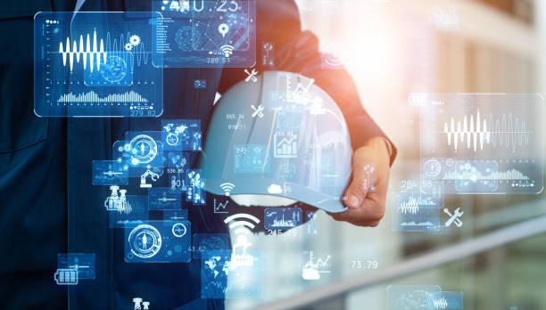 concepto de tecnología industrial. red de comunicación. industria 4.0. automatización de fábrica. - ingeniero fotografías e imágenes de stock