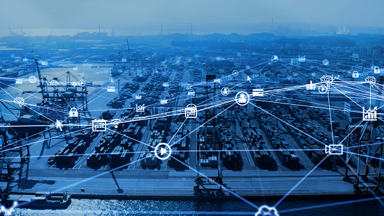 613881746 istock photo Industrial technology concept. Container terminal. Logistics. Communication network. INDUSTRY 4.0. Factory automation. 1210303565