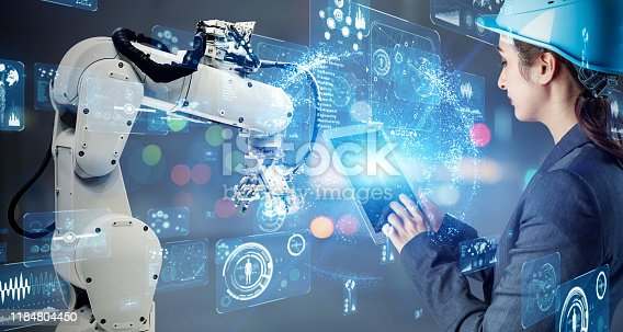 1022530836 istock photo Industrial technology concept. Factory automation. Smart factory. INDUSTRY 4.0 1184804450
