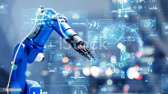 istock Industrial technology concept. Factory automation. Smart factory. INDUSTRY 4.0 1184804468