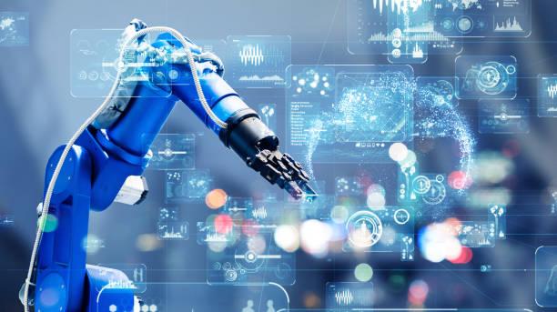 concepto de tecnología industrial. automatización de fábrica. fábrica inteligente. industria 4.0 - robot fotografías e imágenes de stock
