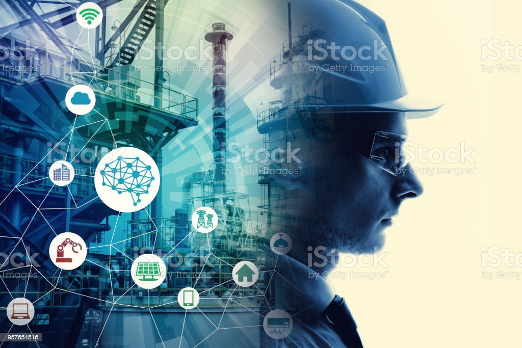 Industrial technology concept. INDUSTRY4.0 - Royalty-free Adult Stock Photo