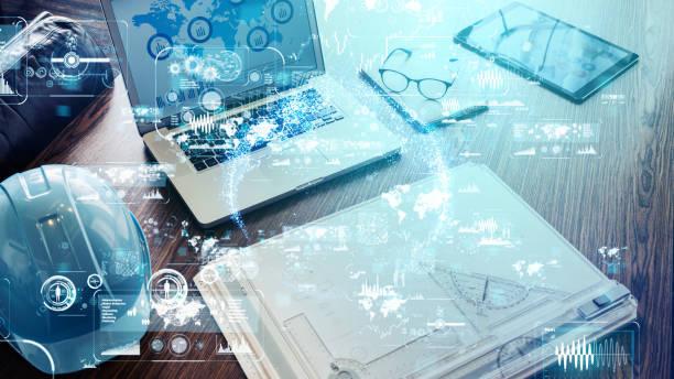 koncepcja technologii przemysłowej. - inżynieria zdjęcia i obrazy z banku zdjęć