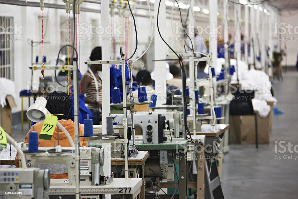 Industrial textile factory stock photo