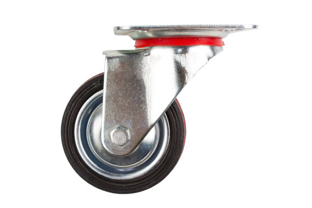 Industrial trolley single Swivel Rubber Caster Wheels. Industrial trolley single Swivel Rubber Caster Wheels with Top Plate not fixed and break .wheel have double red line . wheel stock pictures, royalty-free photos & images
