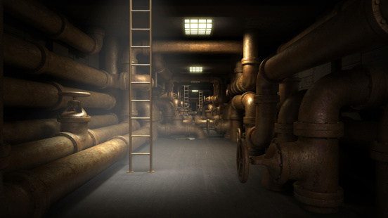 Industrial underground tunnel with piping system.  Fantasy 3d illustration