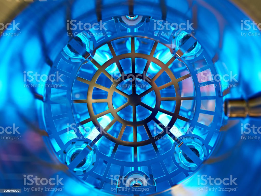 Industrial UV installation for water cleaning stock photo