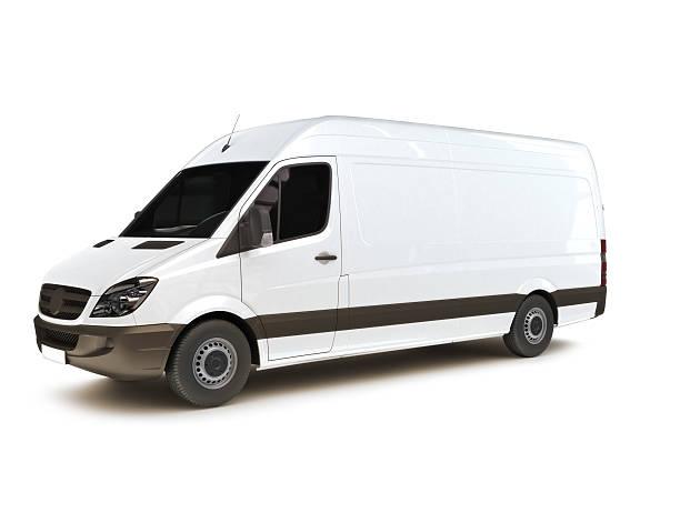 industrial van auf weißem hintergrund - kastenwagen stock-fotos und bilder