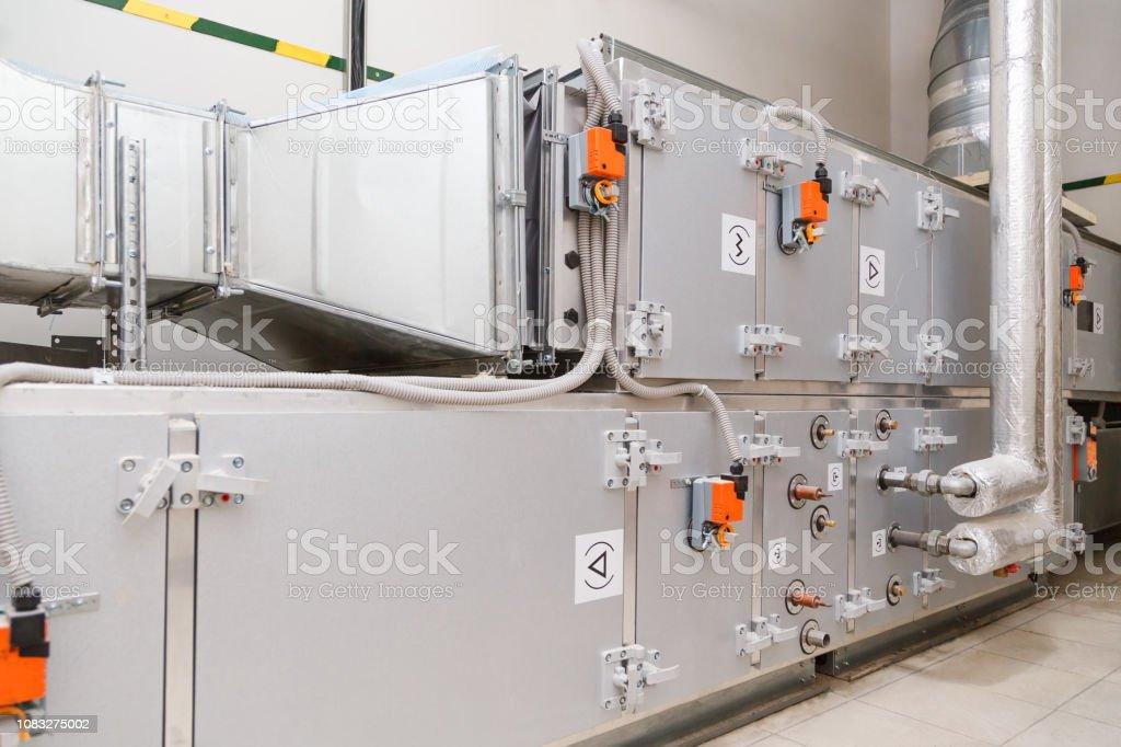 Industrial ventilation handling unit. Recirculation system appliance stock photo