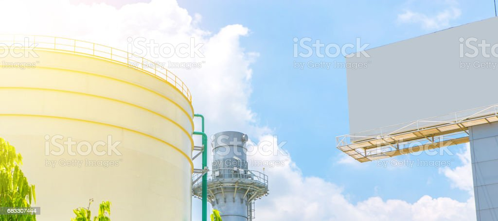 Industrial view at oil refinery plant form industry zone, Panorama foto stock royalty-free