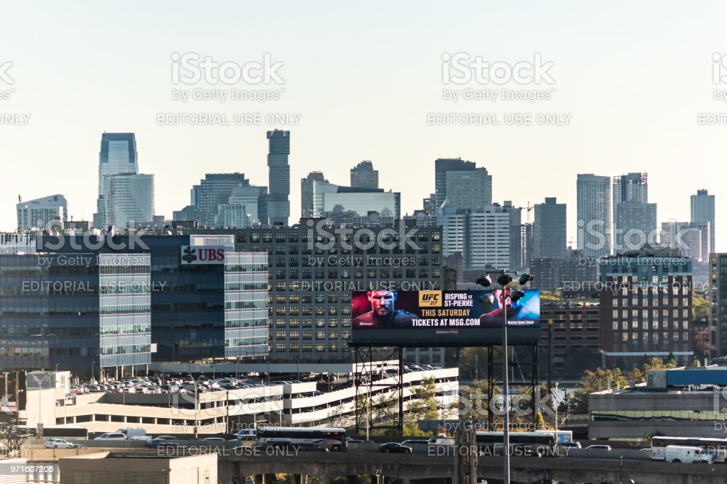 Industrial view of cityscape skyline of Manhattan, NYC, New York City, UBS, Advertisement billboard for UFC