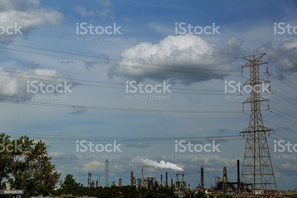 industrial view,A equipment of oil refining,Oil and gas refinery area stock photo