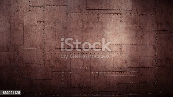 A frontal view on a heavy & rusty industrial wall, made out of overlapping plates held together with rivets. The image has an 16:9 aspect ratio.