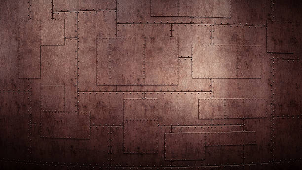 industrial wall with heavy rugged metallic plates - rostrot stock-fotos und bilder