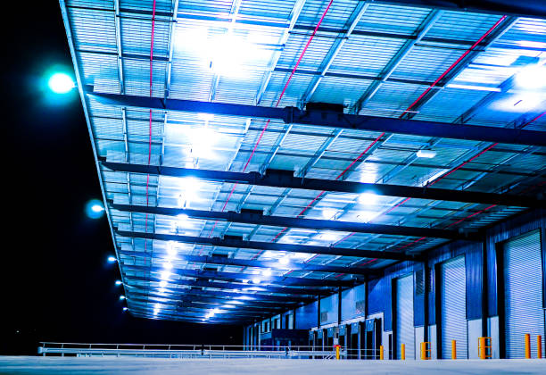 Industrial Warehouse at Night stock photo