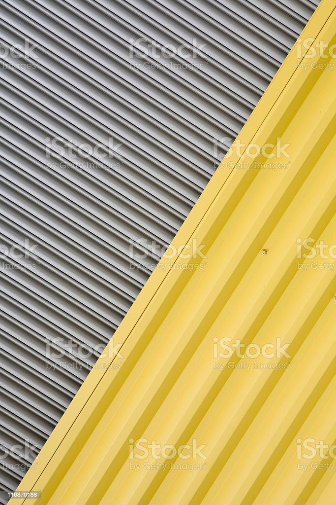 Industrial warehouse corrugated metal wall backgrounds, textures and patterns royalty-free stock photo