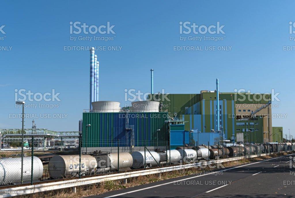 industrial waste incinerator in an industrial park frankfurt-hoechst.