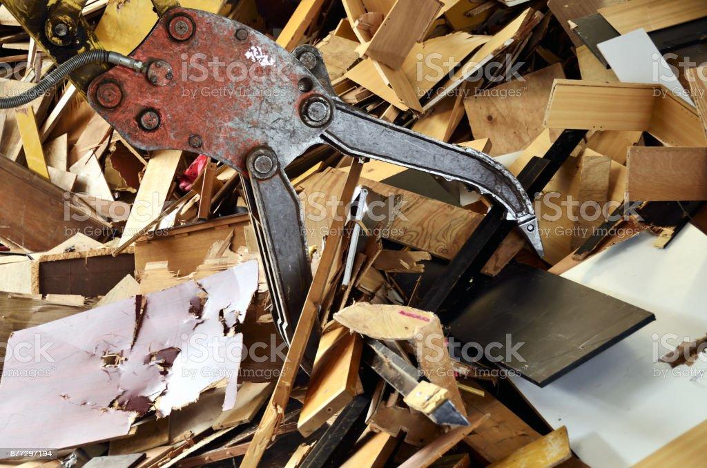 Industrial waste reused as wood chips stock photo