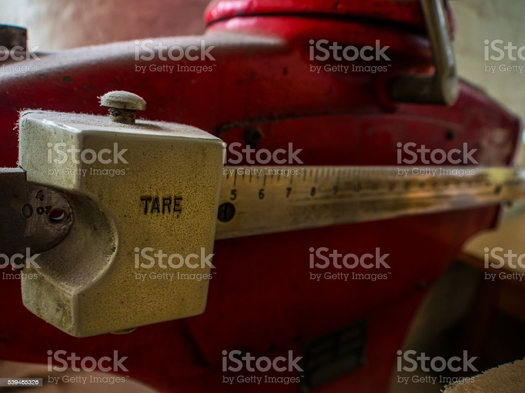 Industrial Weighing Scale Close-Up Tare - Shipping stock photo