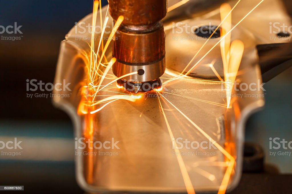Industrial welding automotive stock photo