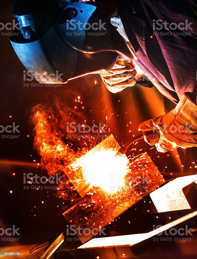 Industrial welding work. stock photo