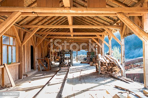 industrial wood factory - general details of wood cutting, machinery