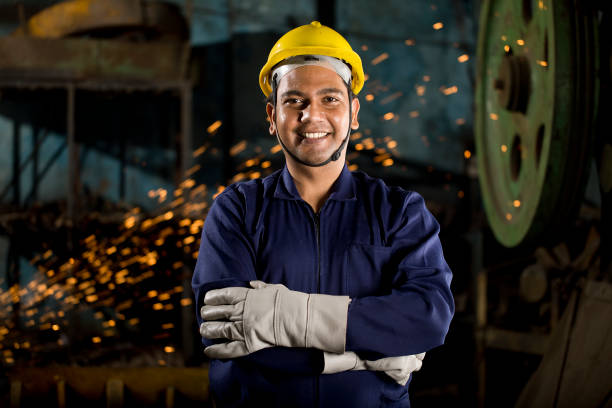 Industrial worker at factory stock photo