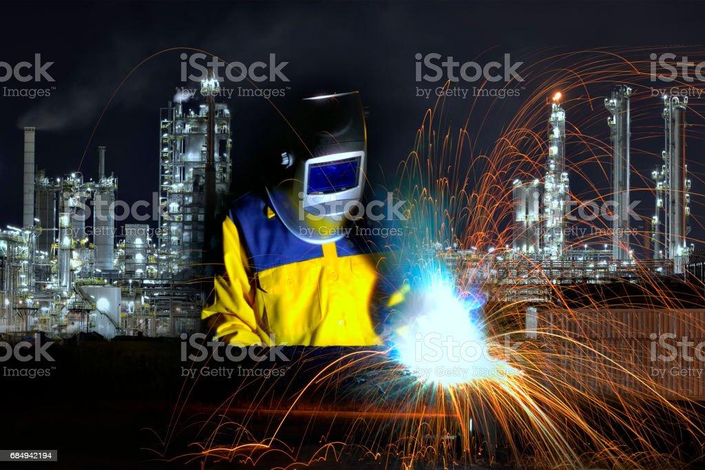 Industrial Worker at the factory welding close up Lizenzfreies stock-foto