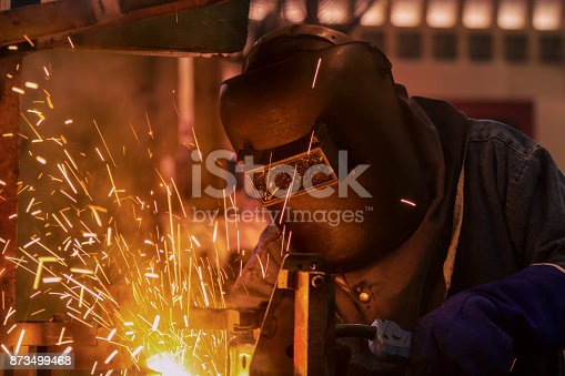 istock Industrial worker is welding in automotive part factory 873499468