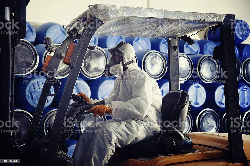 Industrial worker on forklift royalty-free stock photo