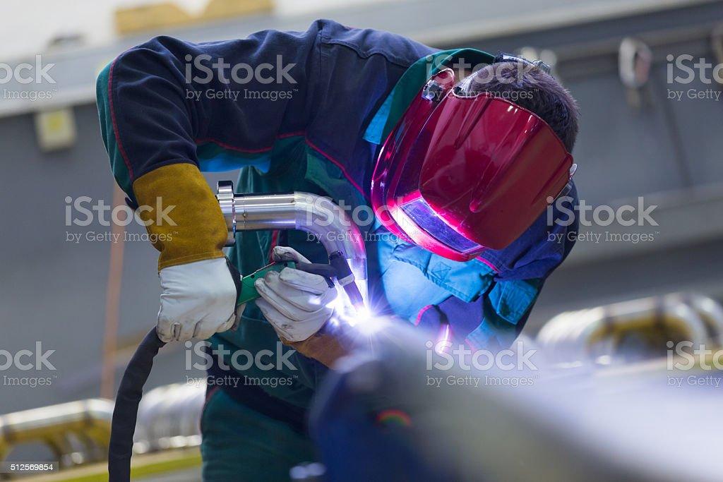 Industrie Arbeiter Schweißen in der Fabrik aus Metall. - Lizenzfrei Anweisungen - Konzepte Stock-Foto