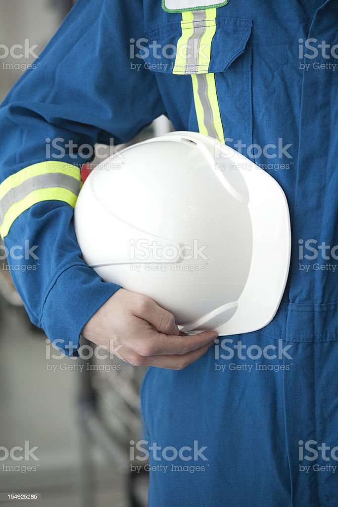 Industrial Worker with Hardhat stock photo