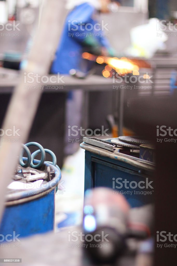 Industrial worker with work tool stock photo