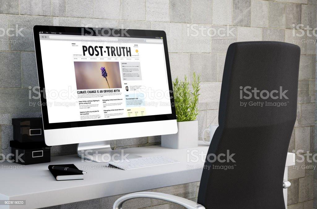 industrial workspace post truth politics news stock photo