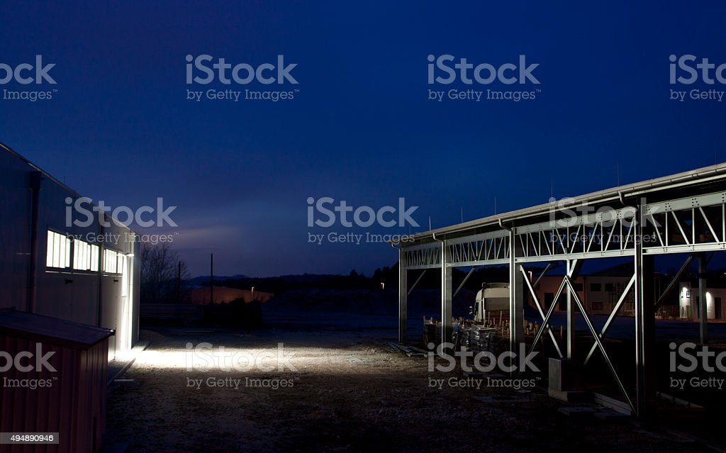 Industrial zone at night stock photo
