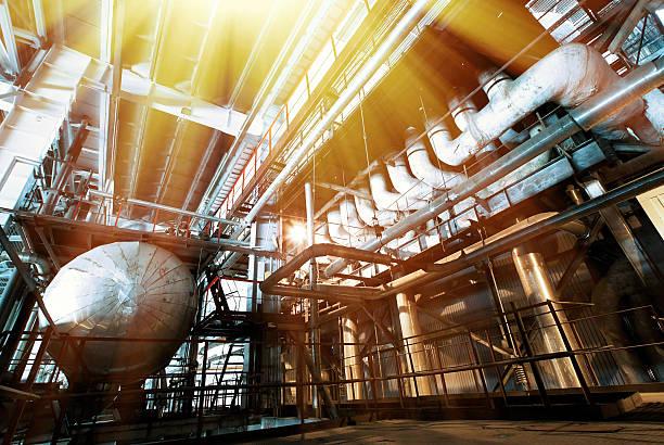 Industrial zone, Stahl pipelines und Zopfmuster in Blau  – Foto