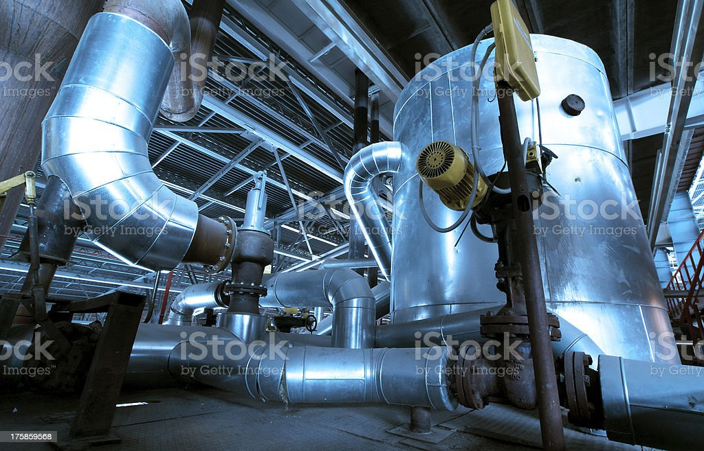 Industrial zone, Steel pipelines and equipment royalty-free stock photo