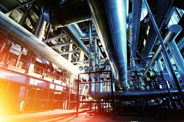 industrial zone, stahl pipelines und ausstattung  - luftventil stock-fotos und bilder