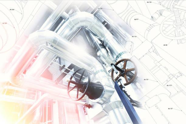 Industrial zone, Stahl pipelines und Ausstattung – Foto