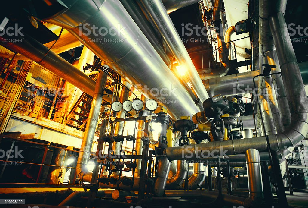 Industrial zone, Steel pipelines in blue tones stock photo
