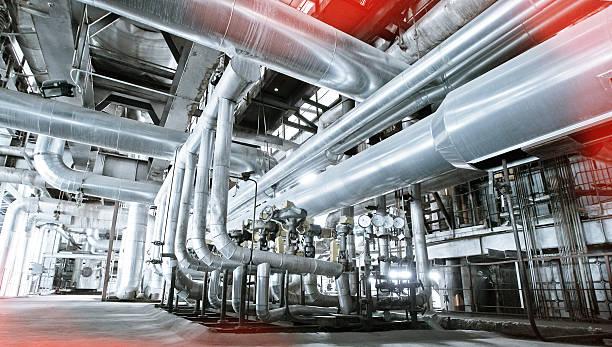 Industrial zone, Stahl pipelines, Ventile und Absatz  – Foto