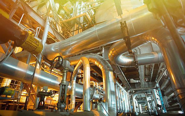 Industrial zone, Stahl pipelines, Ventile und tanks  – Foto