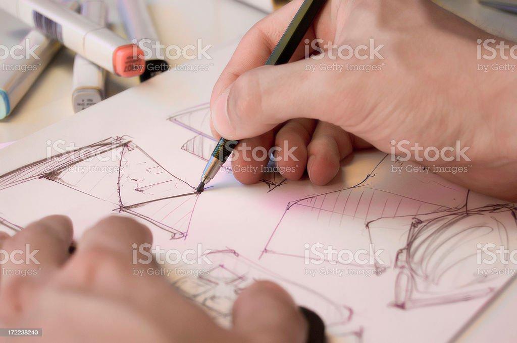 Industrial-designer scribbling stock photo