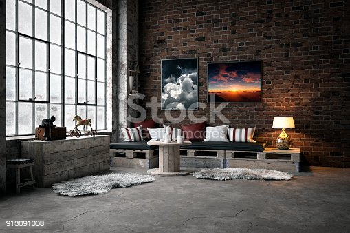 Digitally generated cozy industrial-style domestic room