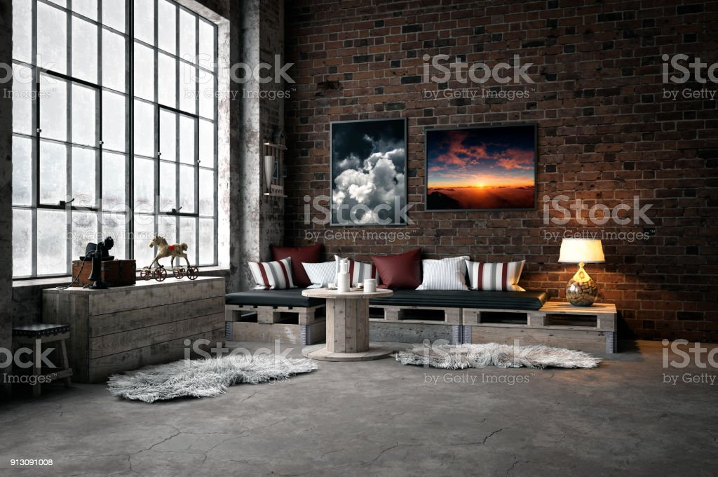 Industrial-Style Domestic Room stock photo