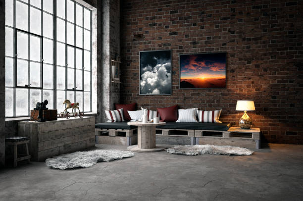 industrial-style domestic room - retro decor stock photos and pictures