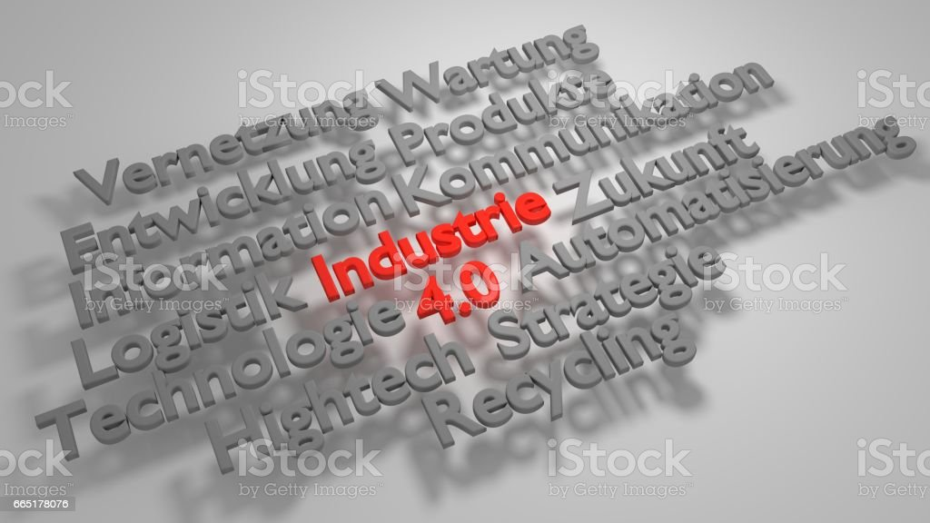 3D Industrie 4.0 word cloud stock photo