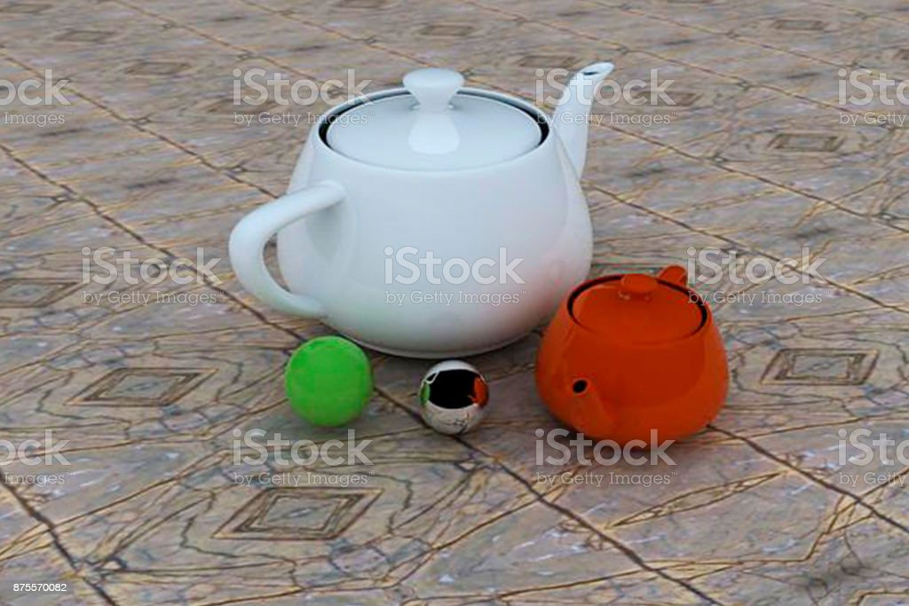 Industry 4.0 3D shaped teapot stock photo