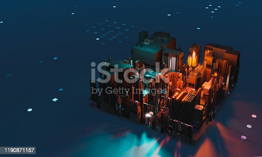 istock Industry 4.0. Abstract colorful machine, building block on dotted background. 3D illustration 1190871157