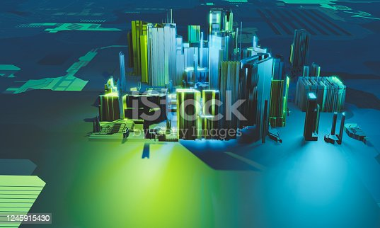 1190871157 istock photo Industry 4.0. Abstract colorful machine, building isometric block in blue and green color on textured background. 3D illustration 1245915430